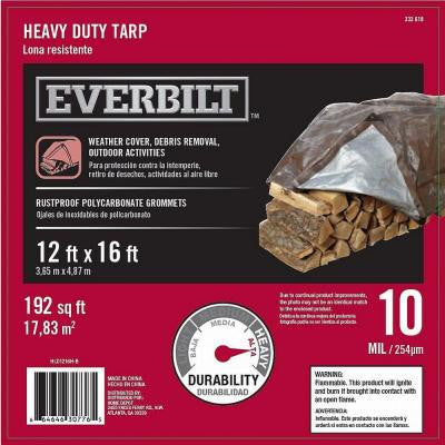 12 ft. x 16 ft. Silver and Brown Heavy Duty Tarp