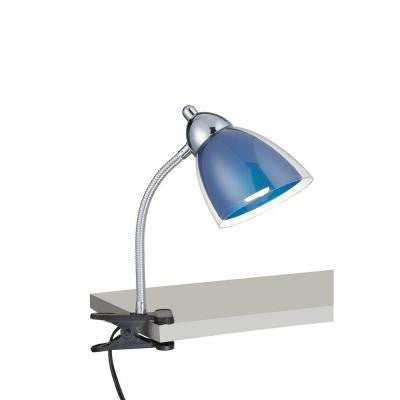Designer Collection 12 in. Chrome Desk Lamp with Blue Acrylic Shade