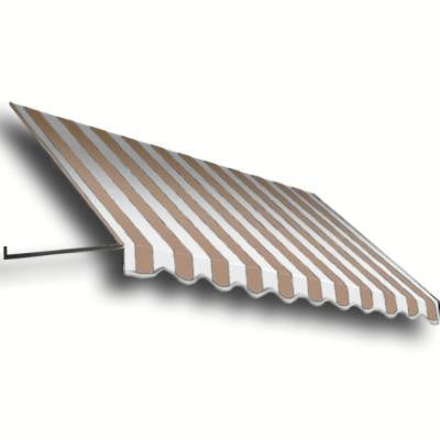 35 ft. Dallas Retro Window/Entry Awning (56 in. H x 36 in. D) in Tan / White Stripe
