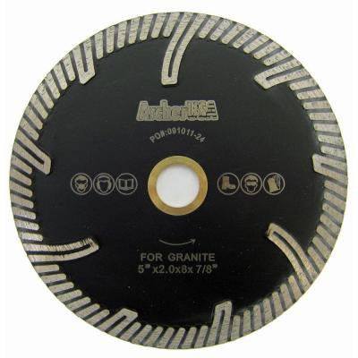 5 in. Turbo Rim Diamond Blade with Protect Teeth for Stone Cutting