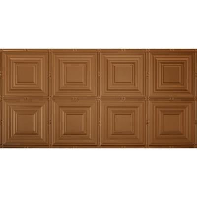 Dimensions Faux 48 in. x 24 in. Aged Copper Tin Style Decorative Ceiling and Wall Tiles