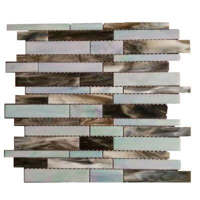 Matchstix Tidal Wave 10 in. x 11 in. x 8 mm Glass Mosaic Floor and Wall Tile