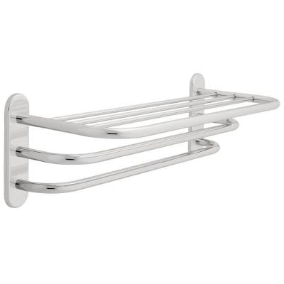 24 in. W Towel Shelf with Two Bars and Concealed Mounting in Polished Chrome