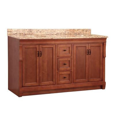 Naples 61 in. W x 22 in. D Double Sink Basin Vanity in Warm Cinnamon with Vanity Top and Stone Effects in Santa Cecilia