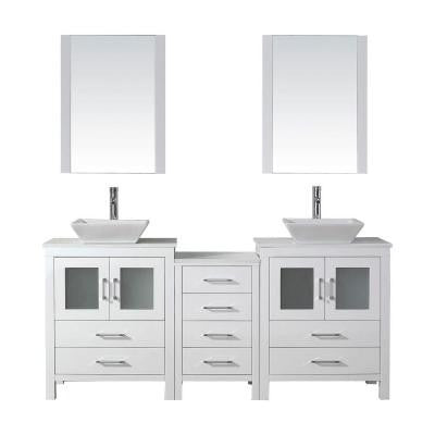 Dior 74 in. Double Vanity in White with Pure Stone Vanity Top in White and Mirrors