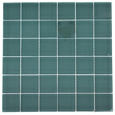 Contempo Turquoise 12 in. x 12 in. x 8 mm Polished Glass Mosaic Floor and Wall Tile