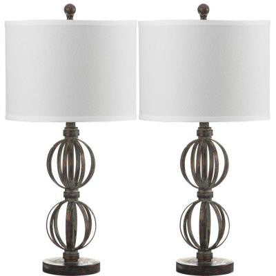 Calista Double Sphere 27.75 in. Oil Rubbed Bronze Table Lamp with Off-White Shade (Set of 2)