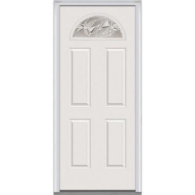 30 in. x 80 in. Lasting Impressions Decorative Glass 1/4 Arch Lite 4-Panel Primed White Steel Prehung Front Door