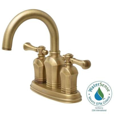 Verdanza 4 in. 2-Handle Bathroom Faucet in Antique Brass