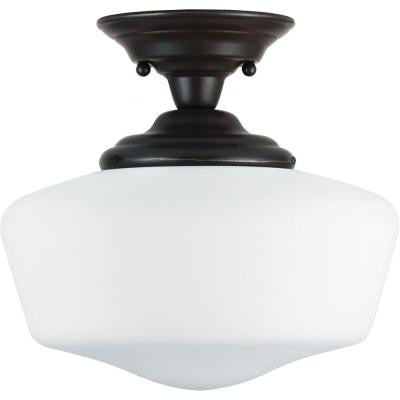 Academy 1-Light Heirloom Bronze Semi-Flush Mount Light