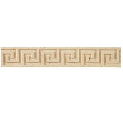 Contempo Greek Key Travertine Liner 1 in. x 6 in. Wall Trim Tile