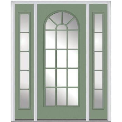 60 in. x 80 in. Classic Clear Glass Round Top Full Lite Painted Fiberglass Smooth Prehung Front Door with Sidelites