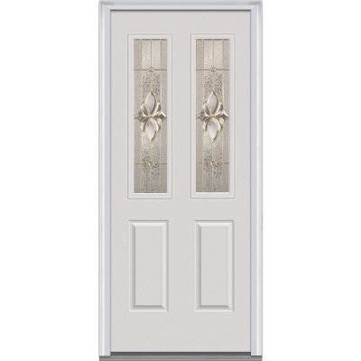 34 in. x 80 in. Heirloom Master Decorative Glass 2 Lite 2-Panel Primed White Fiberglass Smooth Prehung Front Door