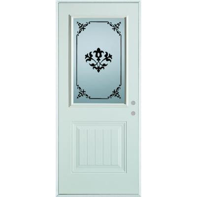 32 in. x 80 in. Silkscreened Glass 1/2 Lite 1-Panel Prefinished White Steel Prehung Front Door