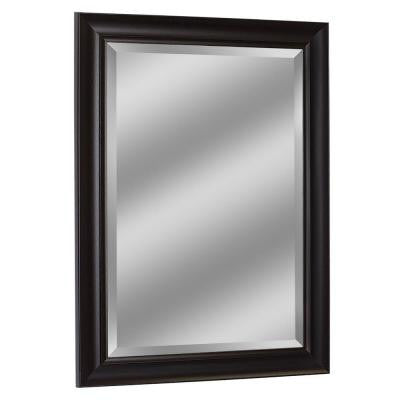 34-1/2 in. x 28-1/2 in. Framed Wall Mirror in Espresso
