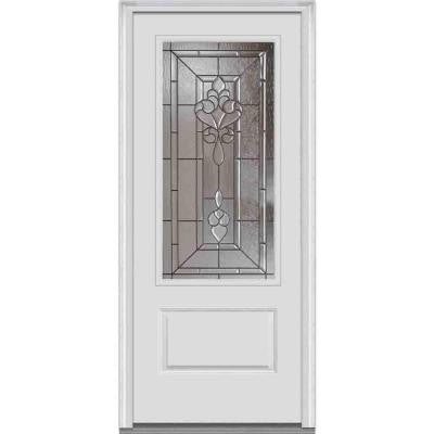 36 in. x 80 in. Fontainebleau Decorative Glass 3/4 Lite 1-Panel Primed White Fiberglass Smooth Prehung Front Door