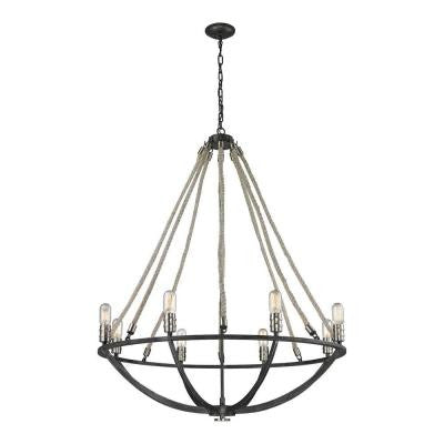 Mariah 8-Light Silvered Graphite with Polished Nickel Accents Chandelier