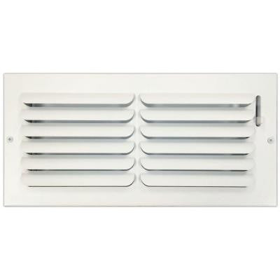 6 in. x 14 in. Ceiling or Wall Register with Curved Single Deflection, White