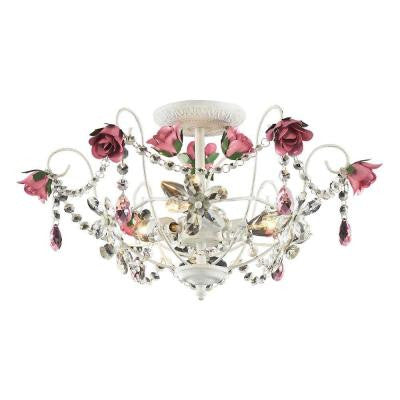 Rosavita 3-Light Ceiling Mount Antique White Semi Flush