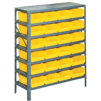 Plastic Bin/Small Parts Gray Steel Storage Rack with 24 Yellow Bins