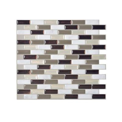 Murano Stone 10.20 in. x 9.10 in. Peel and Stick Mosaic Decorative Wall Tile Backsplash in Taupe (12-Piece)
