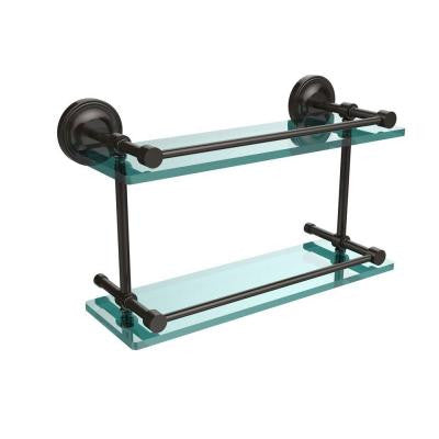 Prestige Regal 16 in. W x 16 in. L Double Glass Shelf with Gallery Rail in Oil Rubbed Bronze