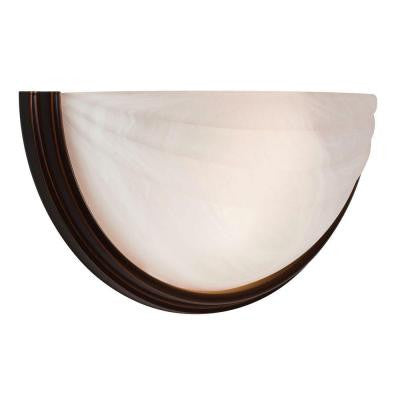 Crest 1-Light Oil Rubbed Bronze LED Wall Sconce with Alabaster Glass Shade