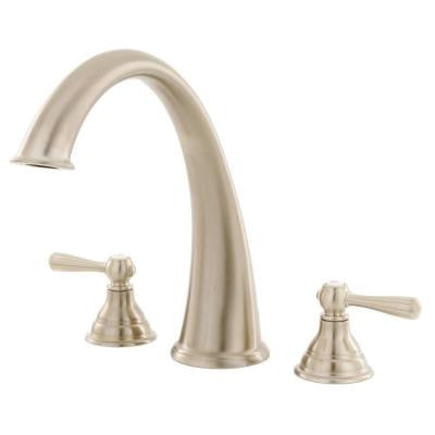 Kingsley 2-Handle Deck-Mount Roman Tub Trim Kit in Brushed Nickel (Valve Sold Separately)