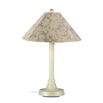 San Juan 34 in. Outdoor White Table Lamp with Bessemer Shade