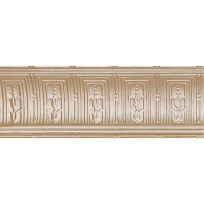 8-3/4 in. x 4 ft. x 8-3/4 in. Satin Brass Nail-up/Direct Application Tin Ceiling Cornice (6-Pack)