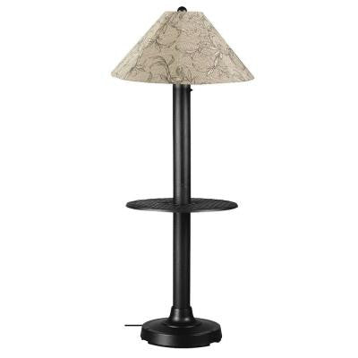 Catalina 63.5 in. Black Floor Lamp with Tray Table and Bessemer Linen Shade