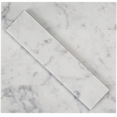 Brushed White Carrera 2 in. x 8 in. x 8 mm Marble Mosaic Tile