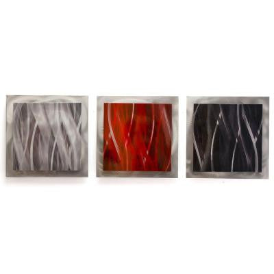 Brevium 12 in. x 38 in. Red, Black and Silver Essence Metal Wall Art (Set of 3)
