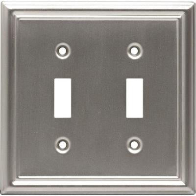 2 Toggle Steel Switch Wall Plate - Faux Brushed Nickel