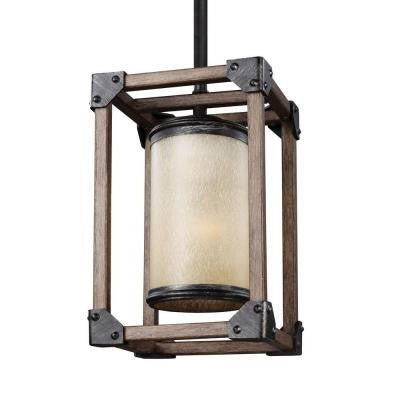 Dunning 1-Light Stardust and Cerused Oak Mini Pendant