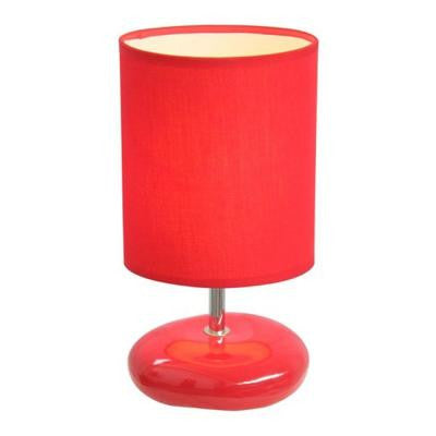 10.5 in. Red Stonies Small Stone Look Table Bedside Lamp