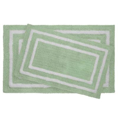 Reversible Cotton Soft Double Border Mint 20 in. x 32 in. 2-Piece Bath Mat Set