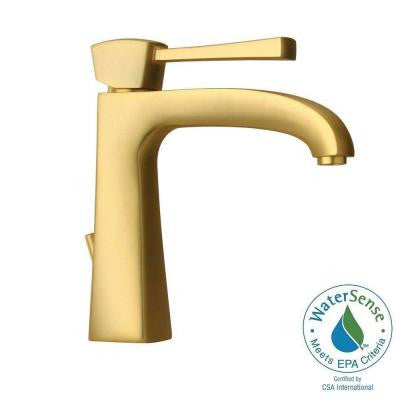 Lady Single Hole 1-Handle Low-Arc Bathroom Faucet in Satin Gold