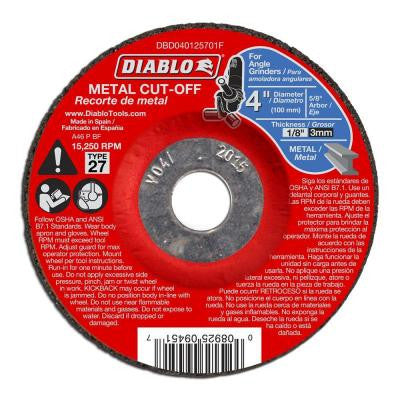 4 in. x 1/8 in. x 5/8 in. Metal Cut-Off Disc with Type 27 Depressed Center (10-Pack)