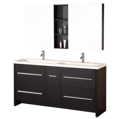 Perfecta 63 in. W x 20 in. D Vanity in Espresso with Acrylic Vanity Top and Mirror in White
