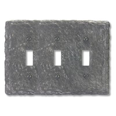 Faux Slate Resin 3 Toggle Wall Plate - Grey