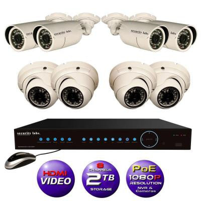 8 CH High Definition 1080P IP POE-NVR Surveillance System with 2TB Hard Drive, 4 Weatherproof Bullet and 4 Dome Cameras