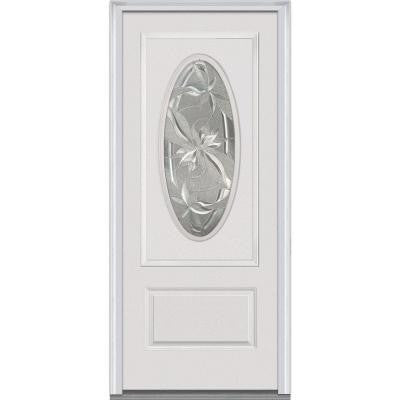 36 in. x 80 in. Lasting Impressions Decorative Glass 3/4 Oval Lite Primed White Fiberglass Smooth Prehung Front Door
