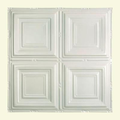 Syracuse 2 ft. x 2 ft. Nail-up Tin Ceiling Tile in Gloss White