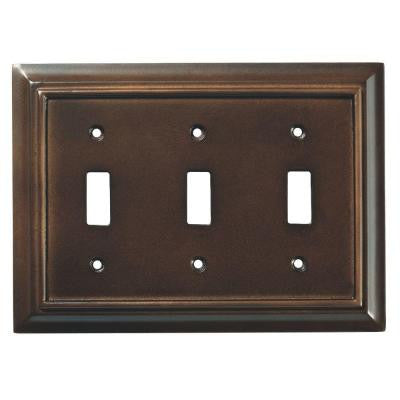 Architectural Wood 3-Gang Toggle Wall Plate - Espresso