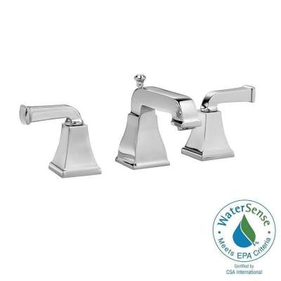 Town Square Curved Lever Widespread 2-Handle Low-Arc Bathroom Faucet in Polished Chrome