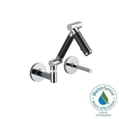 Karbon Wall-Mount 1-Handle Mid-Arc Bathroom Faucet in Polished Chrome with Black Tube