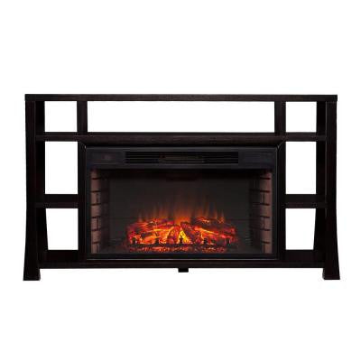 Aspen 55.25 in. Freestanding Media Electric Fireplace in Ebony Stain