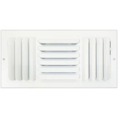 6 in. x 14 in. Ceiling or Wall Register with Curved 3-Way Deflection, White