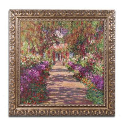 "16 in. x 16 in. ""A Pathway in Monet's Garden"" by Claude Monet Framed Printed Canvas Wall Art"